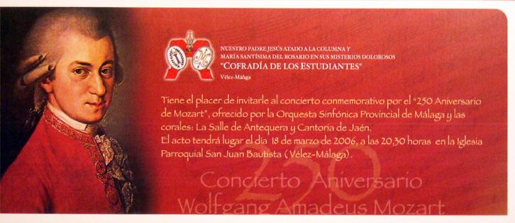 Invitación para el concierto La Cofradía con Mozart